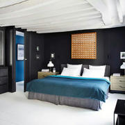 别墅蓝色客厅沙发效果