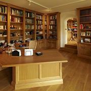 中式大型书房整体书架效果图