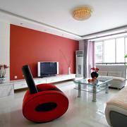 大户型热烈红色背景墙