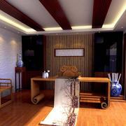 中式书房原木吊顶装饰