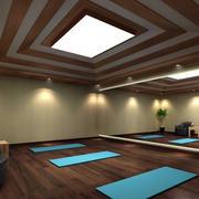 大型瑜伽会所回字吊顶设计