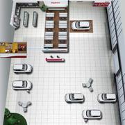 大型简约车展展厅俯视图效果图