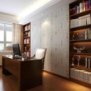 中式书房简约风格背景墙效果图