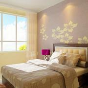 欧式简约卧室印花背景墙设计