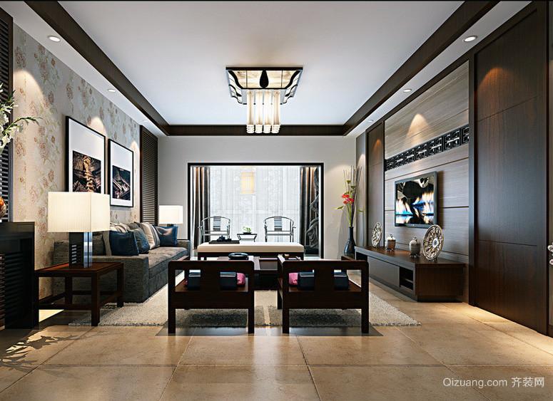 沉稳大气小户型中式客厅装修效果图