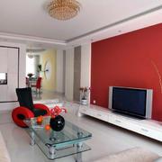 欧式客厅红色背景墙