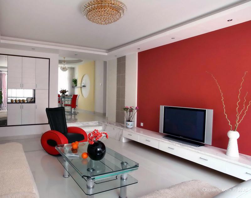 品味追求:105平米欧式家居电视背景墙装修图