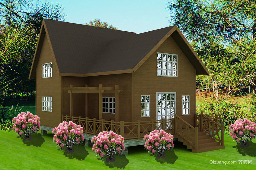 深藏在树林中的精致型小木屋装修效果图