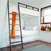 别墅白色简约型高低床设计