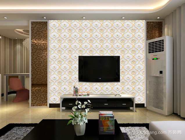 山水诗意:中式风格客厅3D电视背景墙装修