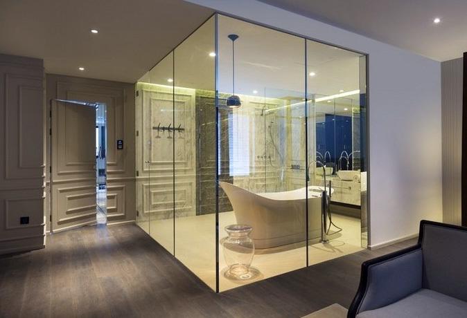 跃层高性价比卫生间防火玻璃门装修效果图图片