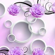 现代简约风格紫色花饰立体背景墙