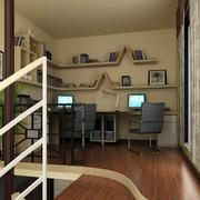 小型复式楼书房置物架设计