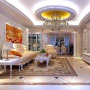欧式客厅圆形奢华吊顶装饰