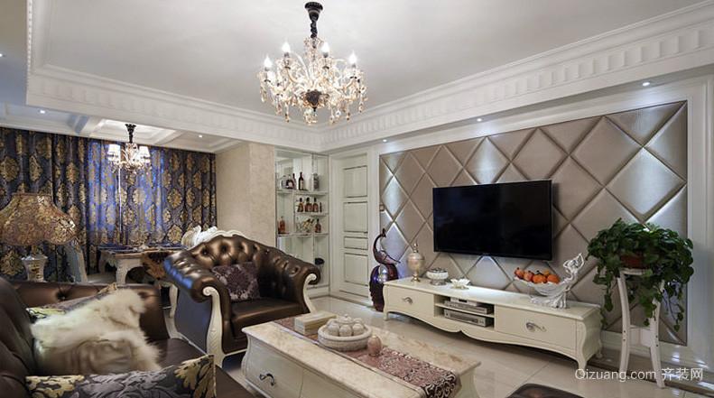 别墅柔软舒适客厅软包背景墙效果图