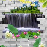 山水画简约立体背景墙设计