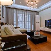 两室一厅美式简约原木地板装饰