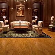 别墅简约风格深色原木地板设计