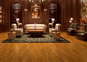聆听自然:120平米美式风格客厅实木地板装修图
