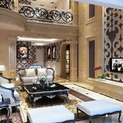 别墅客厅欧式简约电视背景墙