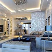 后现代风格客厅白色精致壁纸装饰