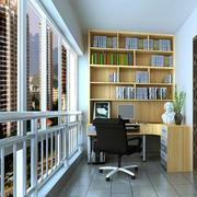 后现代风格清新原木书房书架设计