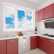 番茄色的厨房橱柜