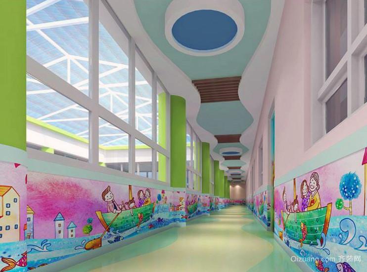 现代都市唯美幼儿园壁画装修效果图
