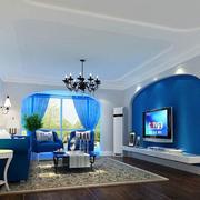 现代简约蓝色窗帘
