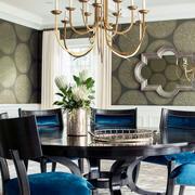 简欧餐厅蓝色椅子