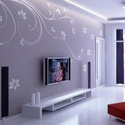 紫色大方简约风格电视背景墙