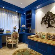 蓝色调小书房设计图片