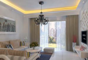 清爽飘逸的大户型客厅窗帘装修效果图