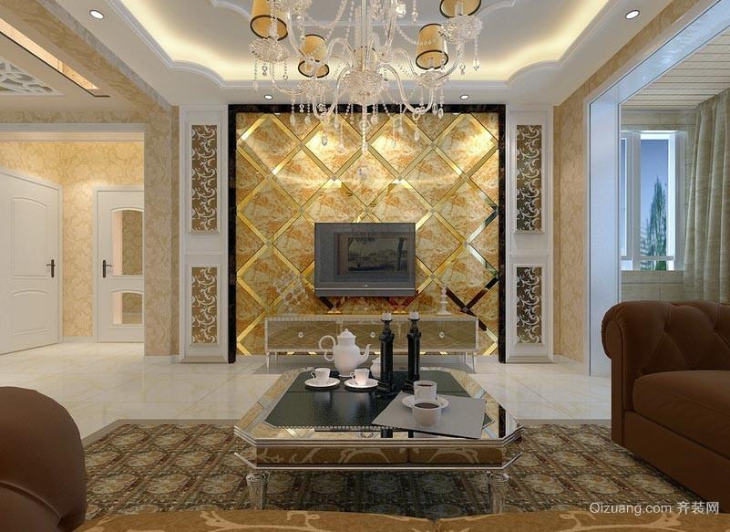新型晶莹剔透的微晶石瓷砖电视背景墙贴图