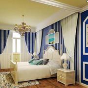 卧室条纹蓝色窗帘