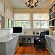 欧式简约风格书房整体书柜设计