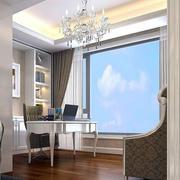 欧式简约风格采光强的阳台书房装饰