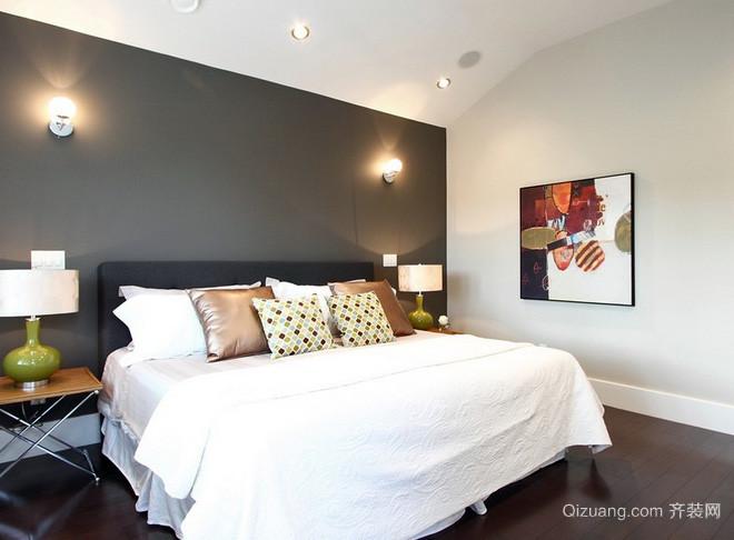 美式简约卧室深色原木地板装饰