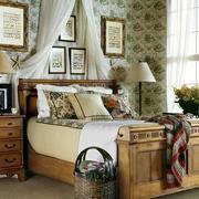 美式原木系卧室家居原木床饰设计