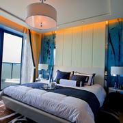 地中海风格卧室背景墙装修吊顶图