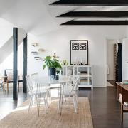 别墅餐厅白色餐桌椅