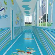 教室蓝色走廊展示