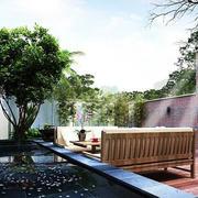 别墅庭院长椅设计