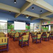 教室蓝色吊顶展示