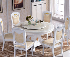 欧式简约风格餐厅大理石餐桌装修效果图