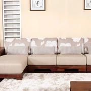 原木深色L型沙发设计