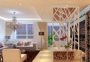 别墅唯美风格客厅玄关隔断装修效果图