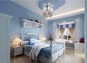 大户型地中海风格卧室背景墙装修图片