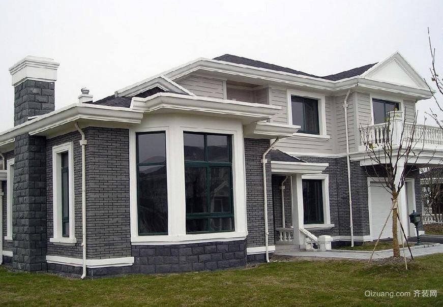 保护色:大户型别墅外墙砖贴图展示