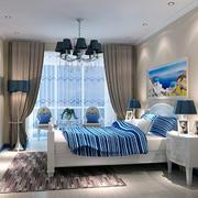 地中海风格卧室背景墙装修窗帘图